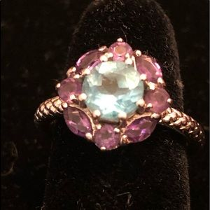 Blue topaz and amethyst SS flower ring
